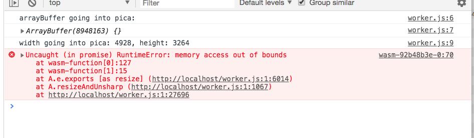 LinkError: WebAssembly Instantiation: Import #0 module=