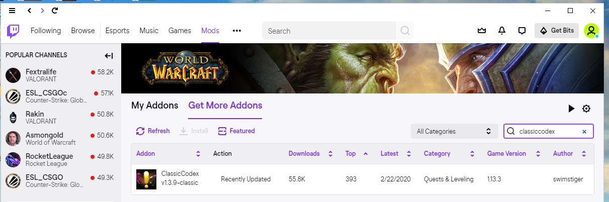 find the addon in twitch app