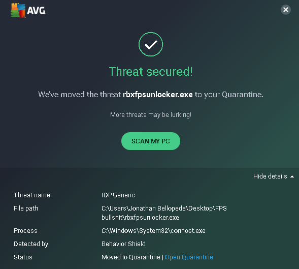 Virus Protection AVG · Issue #47 · axstin/rbxfpsunlocker
