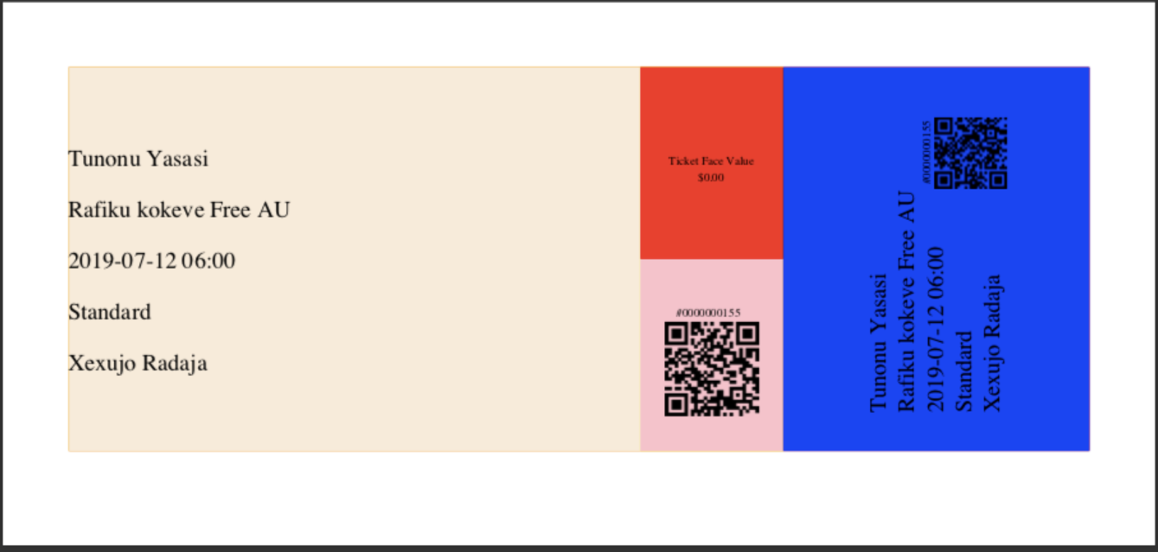 ticket layout