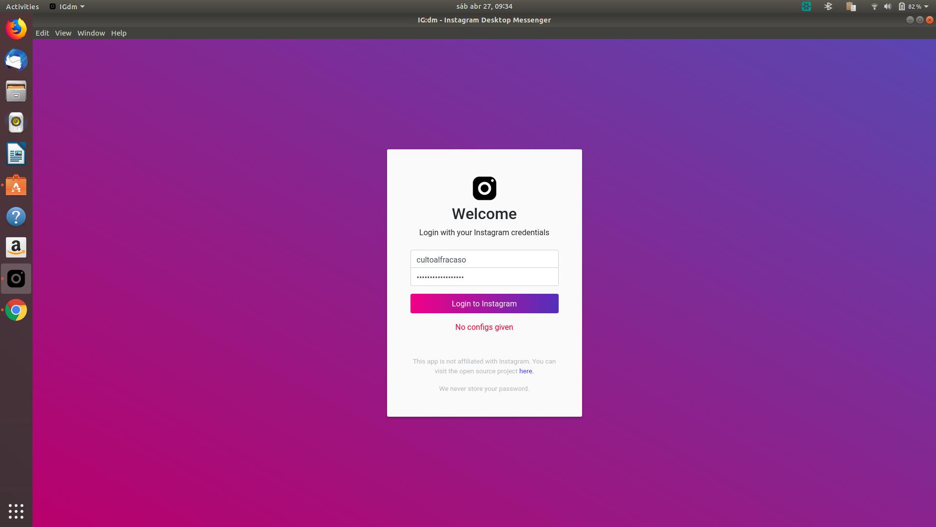 Can't login in IG:dm on Ubuntu 18 04 · Issue #936