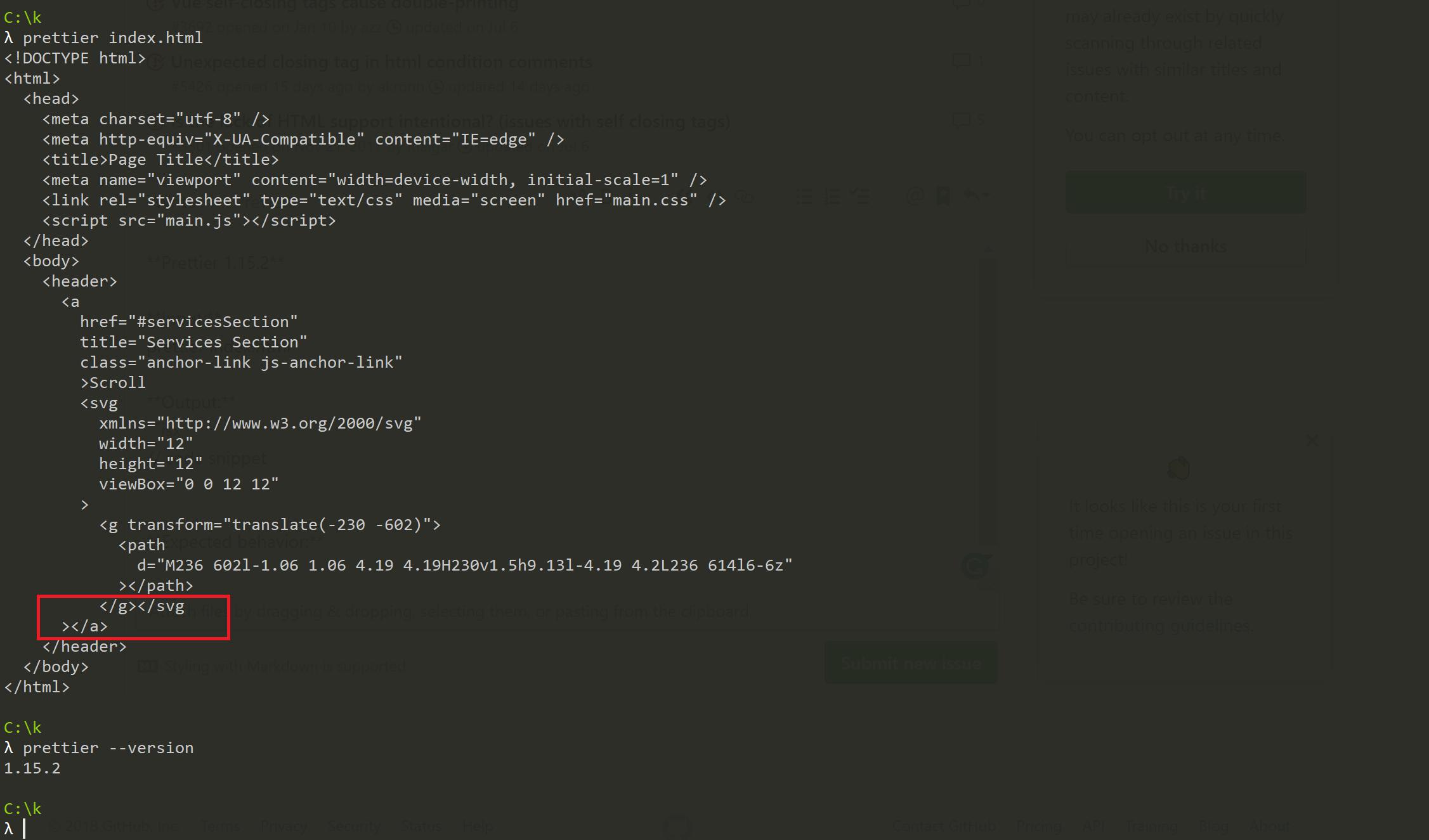 Bug? Prettier breaks SVG close tag · Issue #5541 · prettier