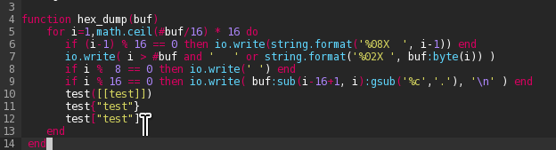 Lua weird syntax highlighting of brackets after quotes