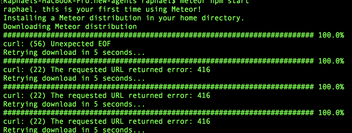 Meteor install: curl: (22) The requested URL returned error: 416