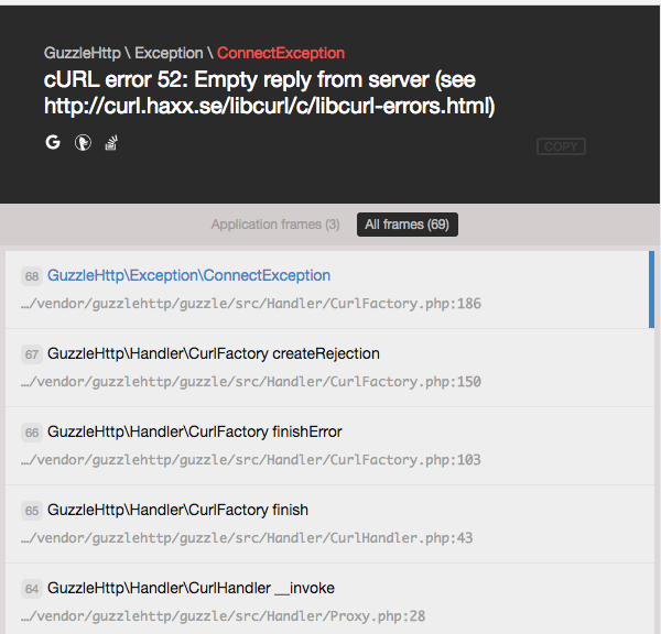 Error 'cURL error 52: Empty reply from server ' when sending large