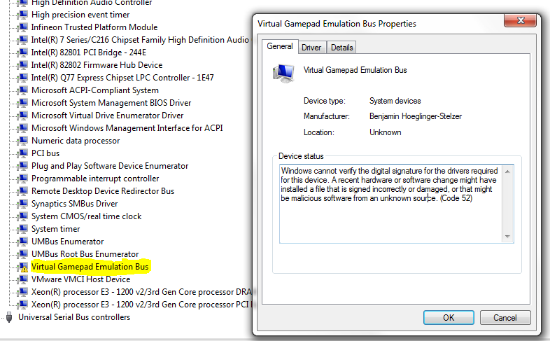 Driver Issue Virtual Gamepad Emulation Bus