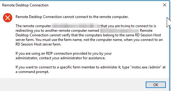 Settings RDP loadbalanceinfo causes An internal error has