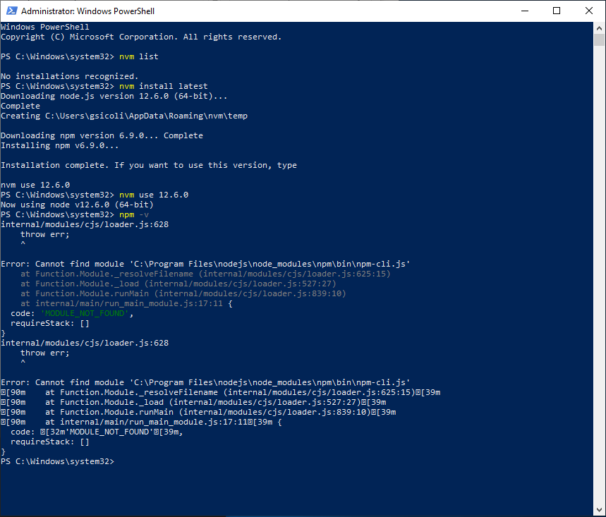 nvm installs node but fails to deliver npm · Issue #456