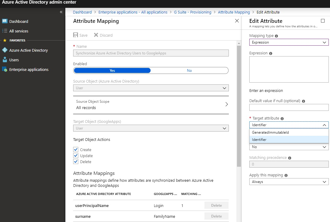 Azure AD Provisioning and Attributes to Google Apps · Issue