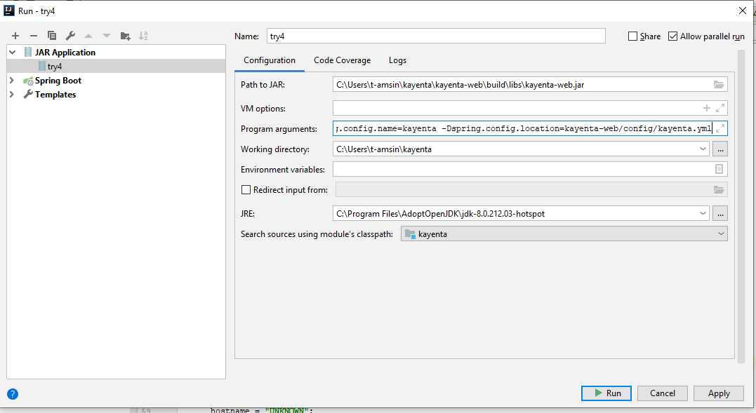 Running kayenta application on intellij / eclipse/ any-JAVA_IDE