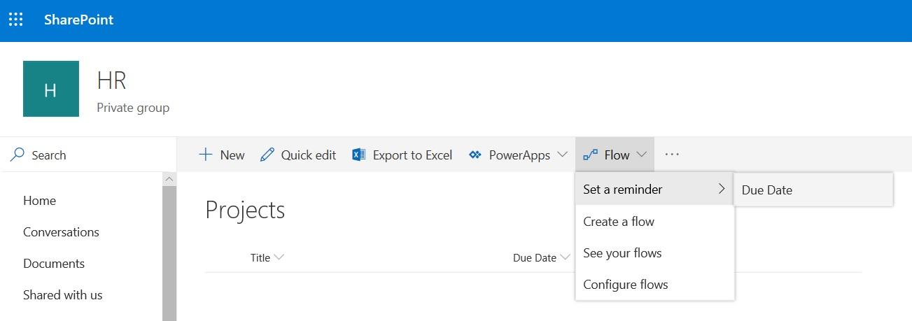 SharePoint List view command bar Flow set a reminder not