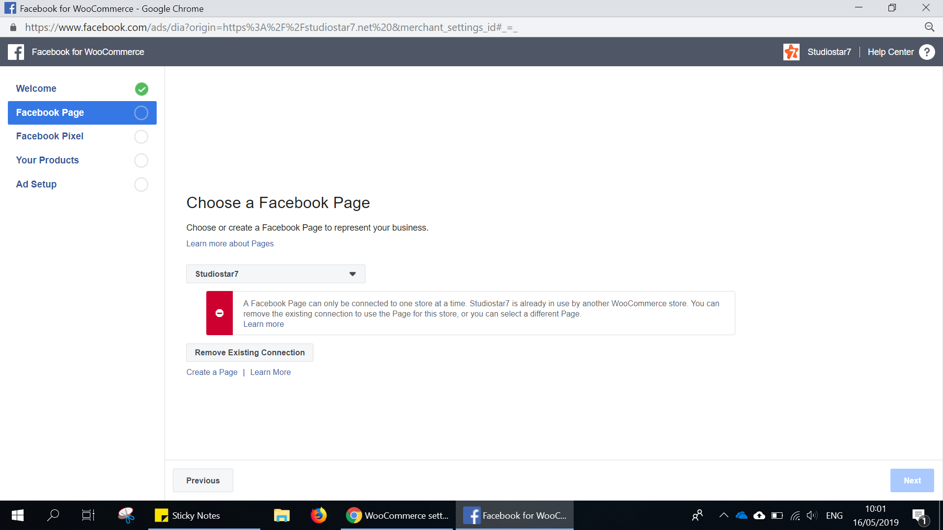 Error When Unlink Facebook Page with Woocommerce · Issue