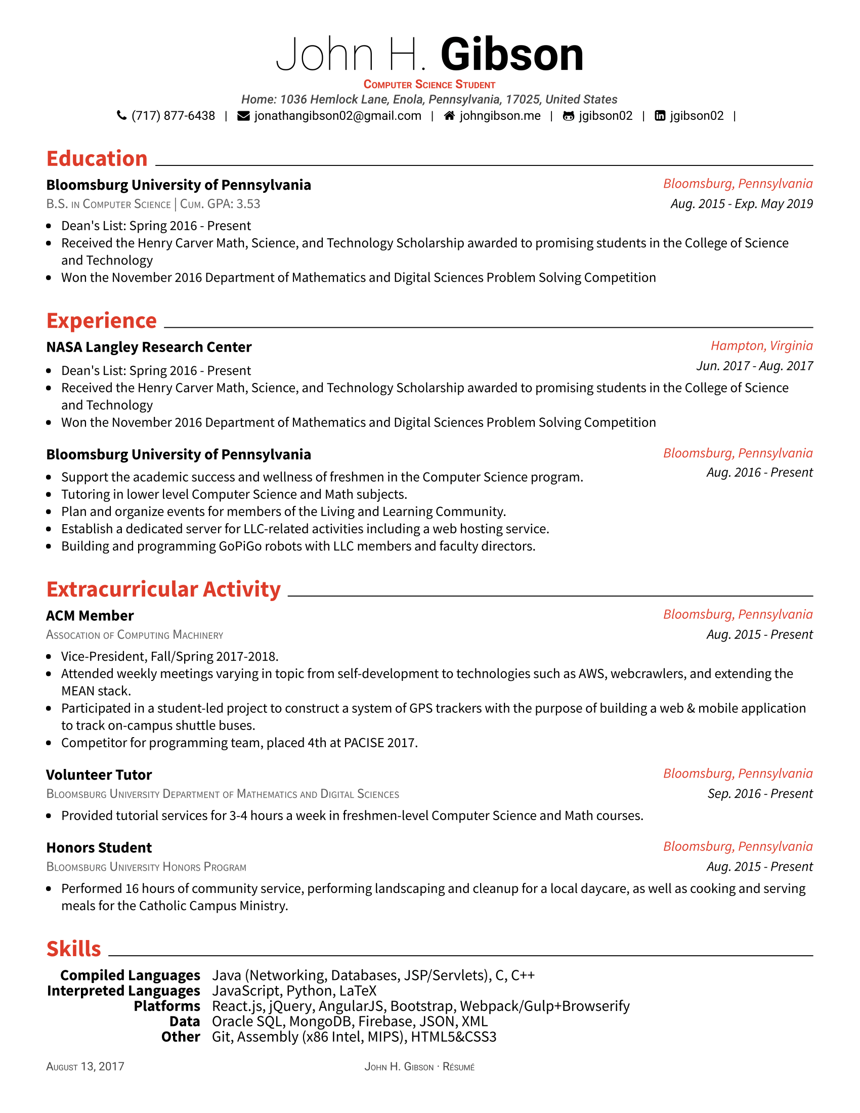 Original Template Posquit0 Awesome CV