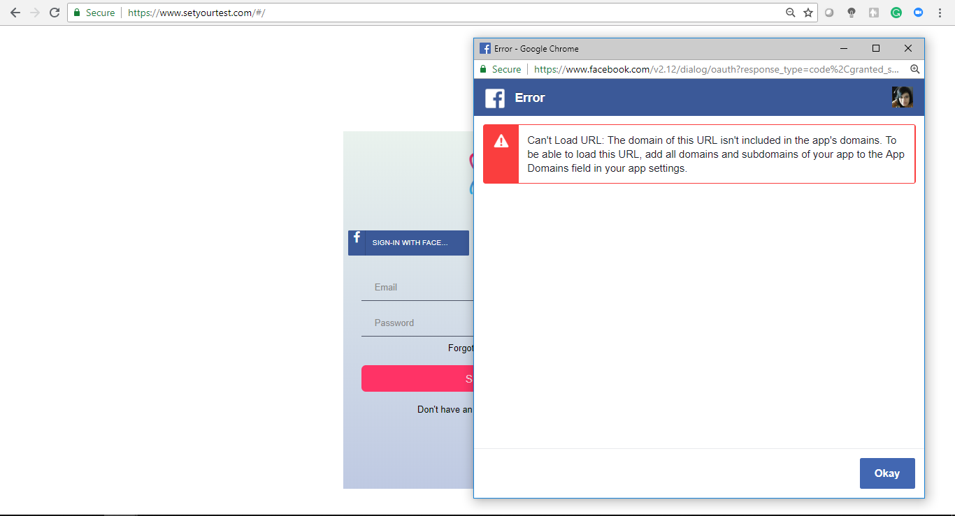 Facebook OAuth authentication not working through