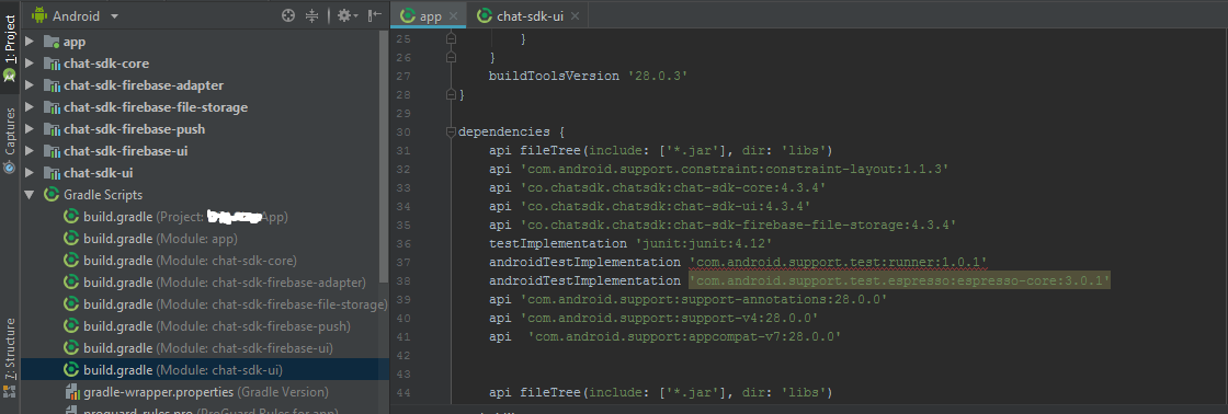 com android support:appcompat-v7:28 0 0 conflict & Compile