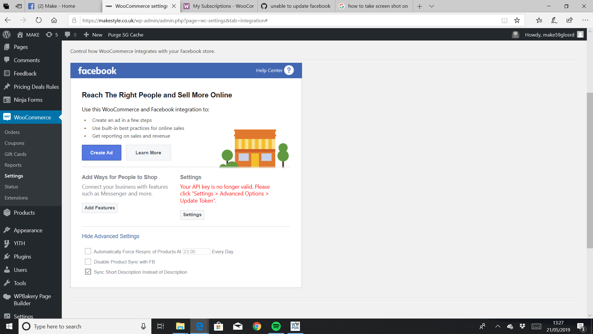 unable to update facebook api token · Issue #1003