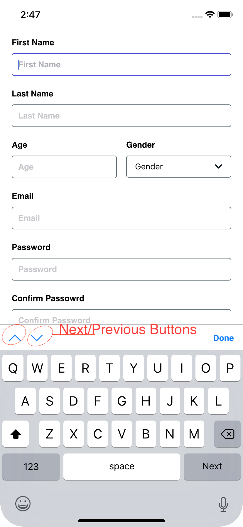 Focus next input with custom button · Issue #118 · bamlab