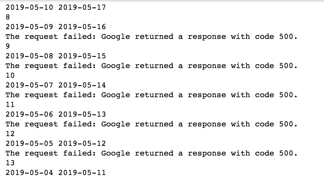 The request failed: Google returned a response with code 500