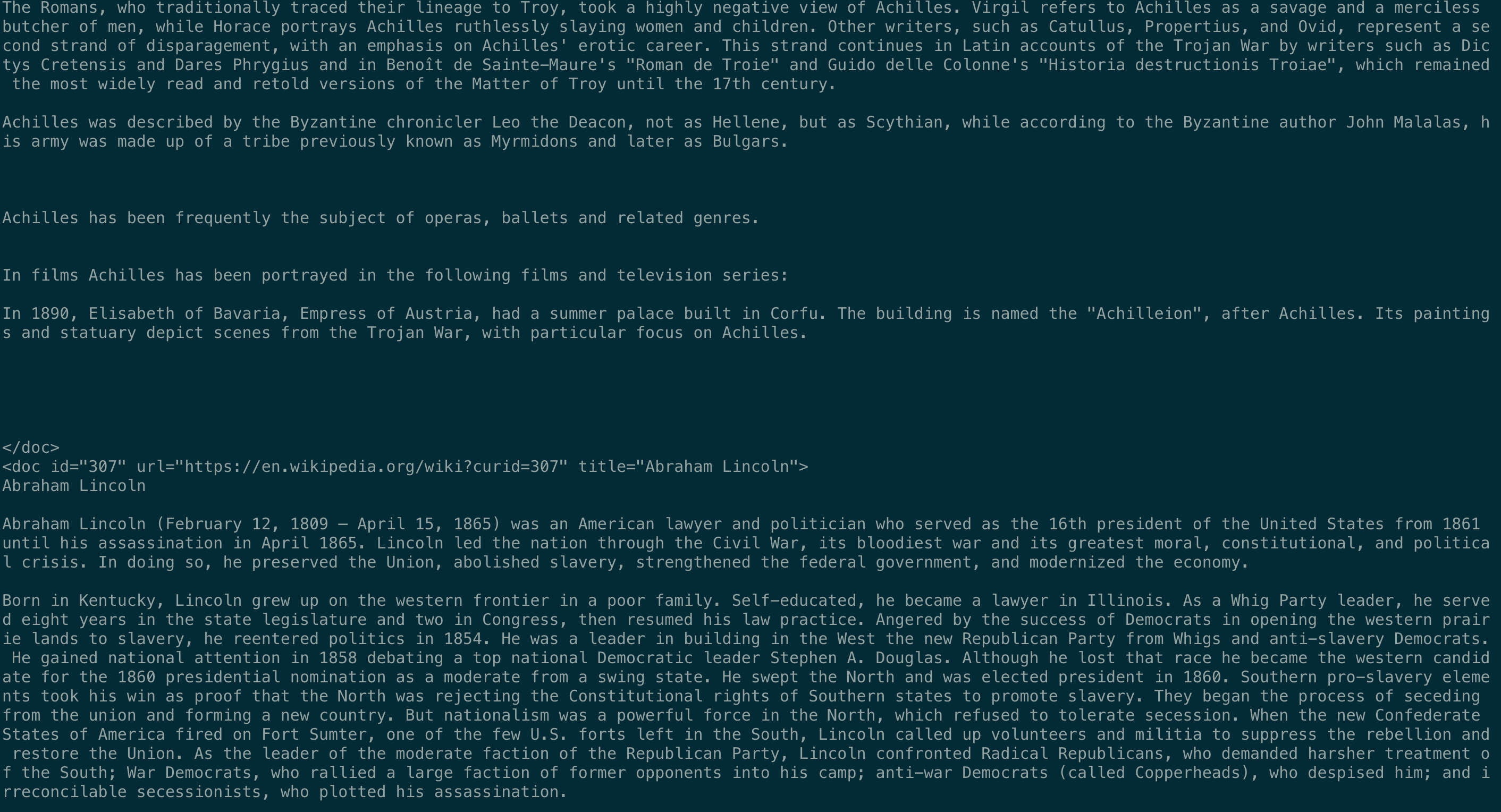 Wiki Data Formation Problem, Need Sentence Split · Issue