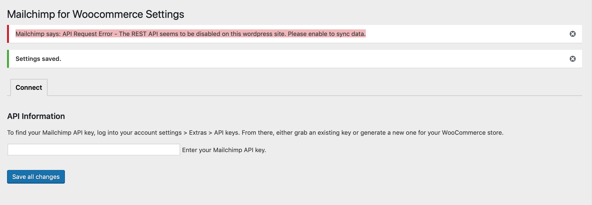 Mailchimp says: API Request Error - The REST API seems to be