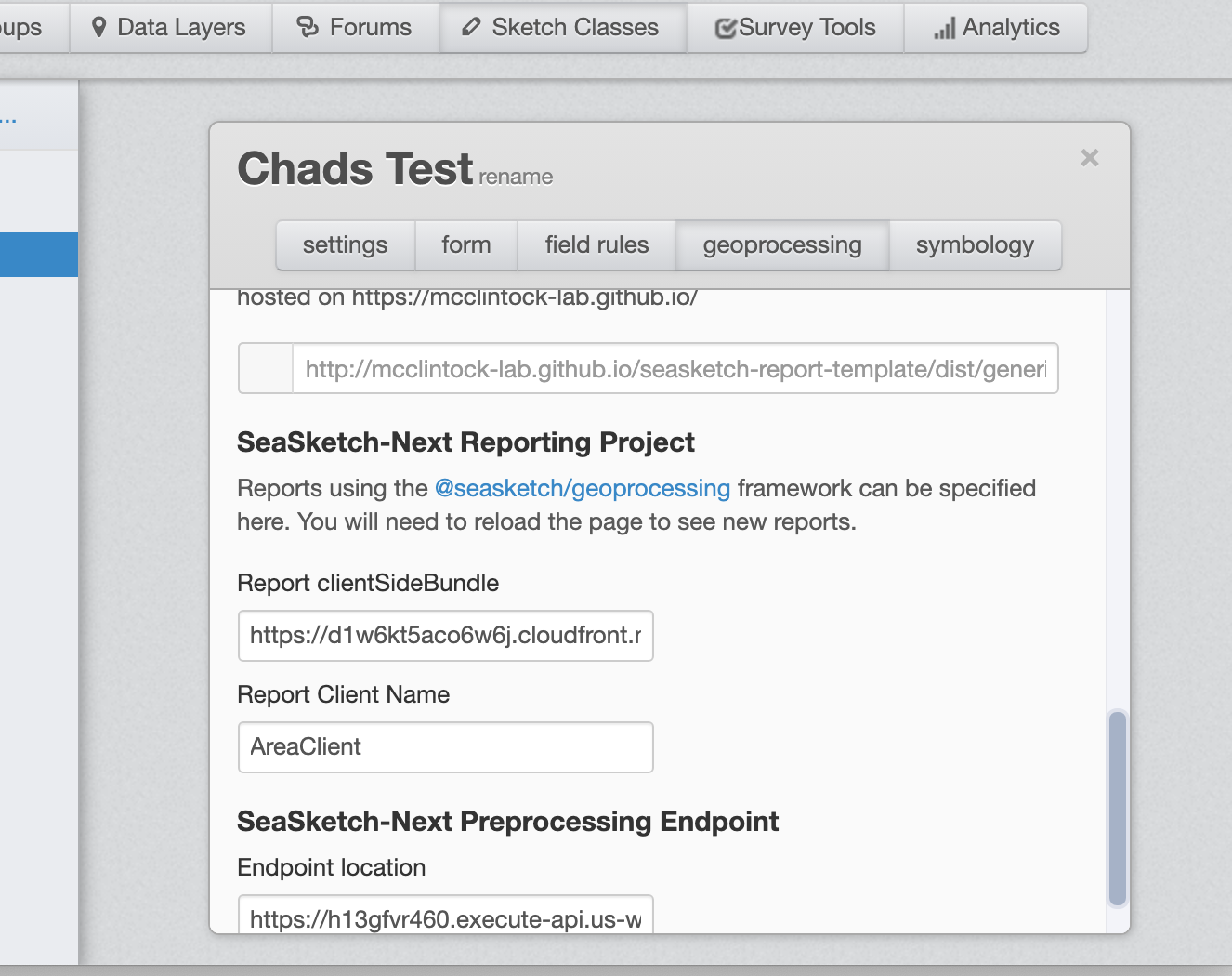 sketch class admin screenshot