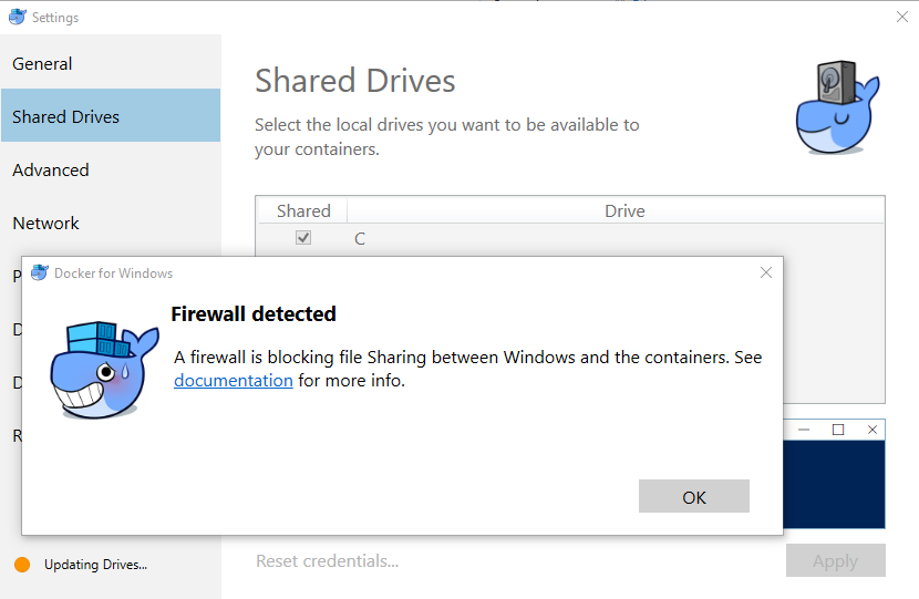 Error: A firewall is blocking file Sharing between Windows and the