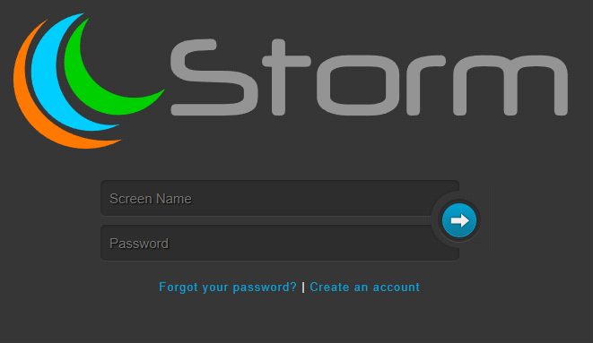 Storm login screen