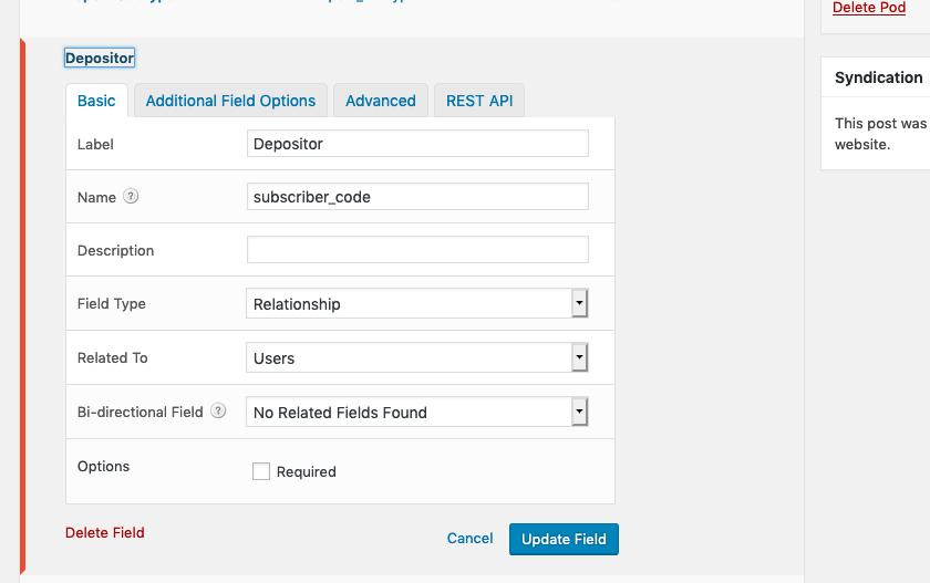Depositor custom field on Pods edit screen showing Basic tab