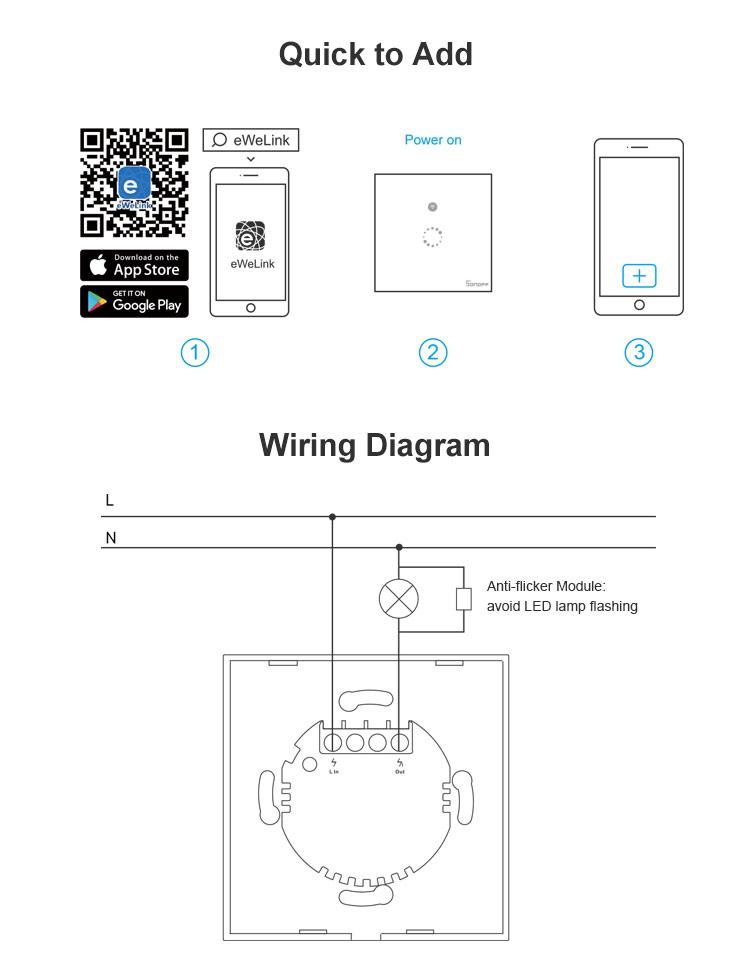 sonoff t4eu1c  1 gang eu wifi smart single wire wall