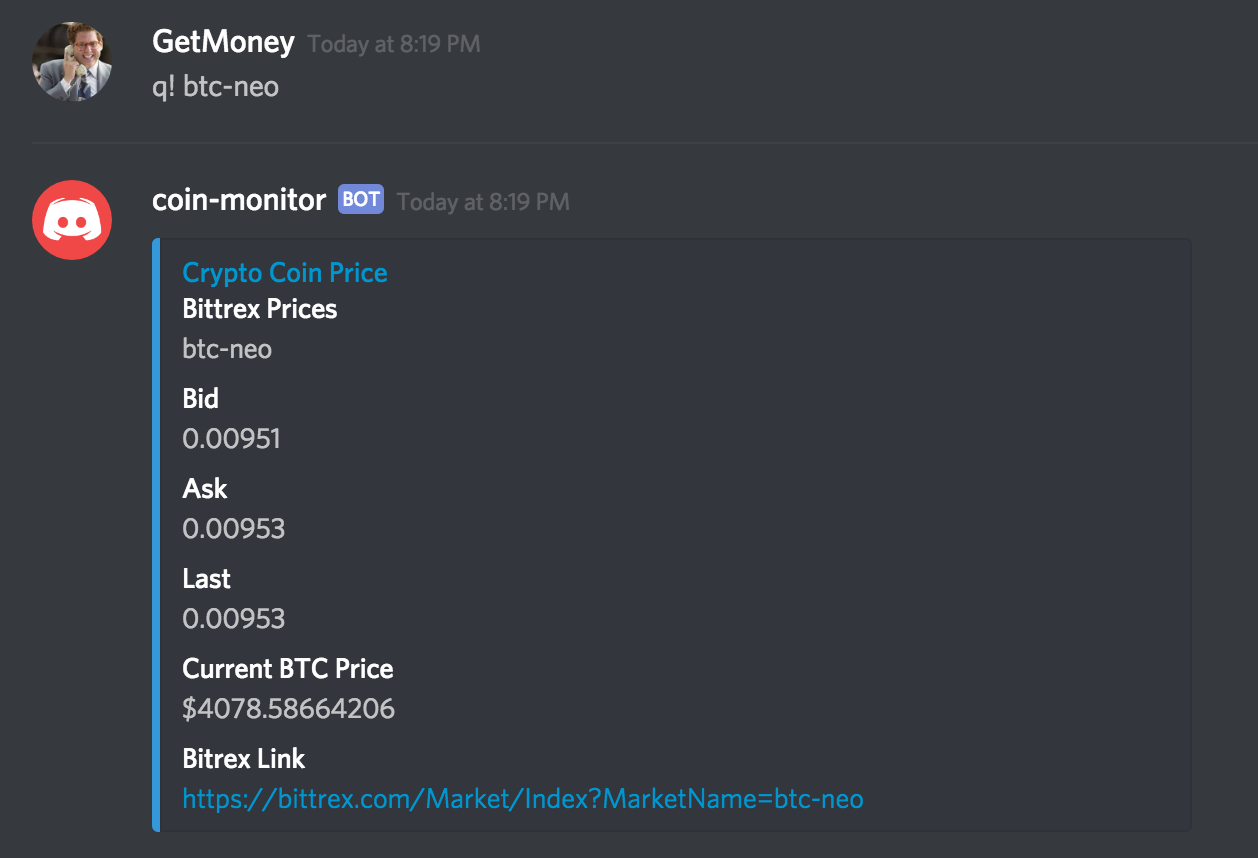 Cryptocurrency Price Bot Discord Anc Value Crypto
