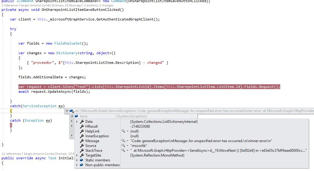 Sharepoint list item fields update using the c# Graph API