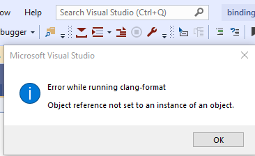 Vs2019 Object Reference Not Set To An Instance Of An Object Issue 537 Caphyon Clang Power Tools Github