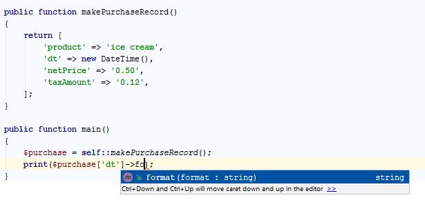 Object type info in an associative array