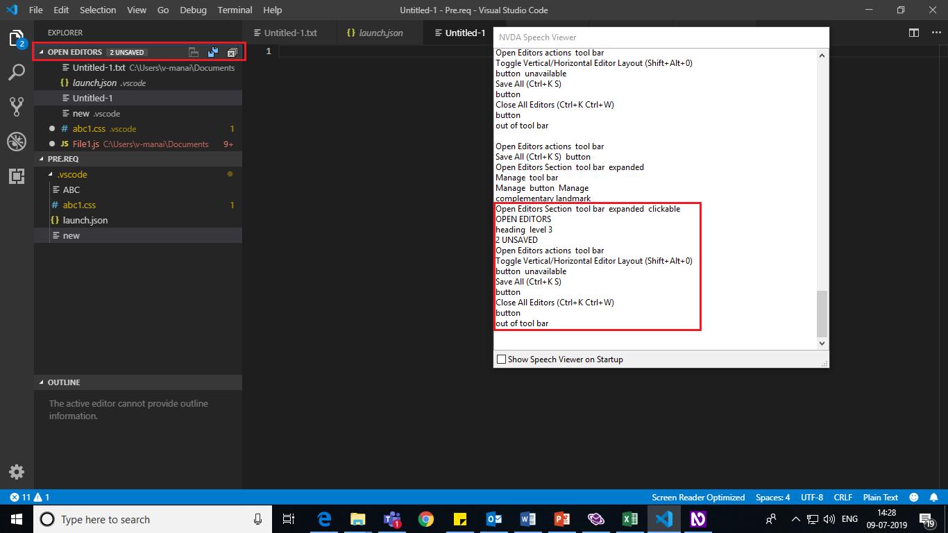 VSCode_SidebarBarOptions_AccessingTheExplorersidebaroptionsandCreatinga newfile_ScreenReader Inappropriate name for toolbar