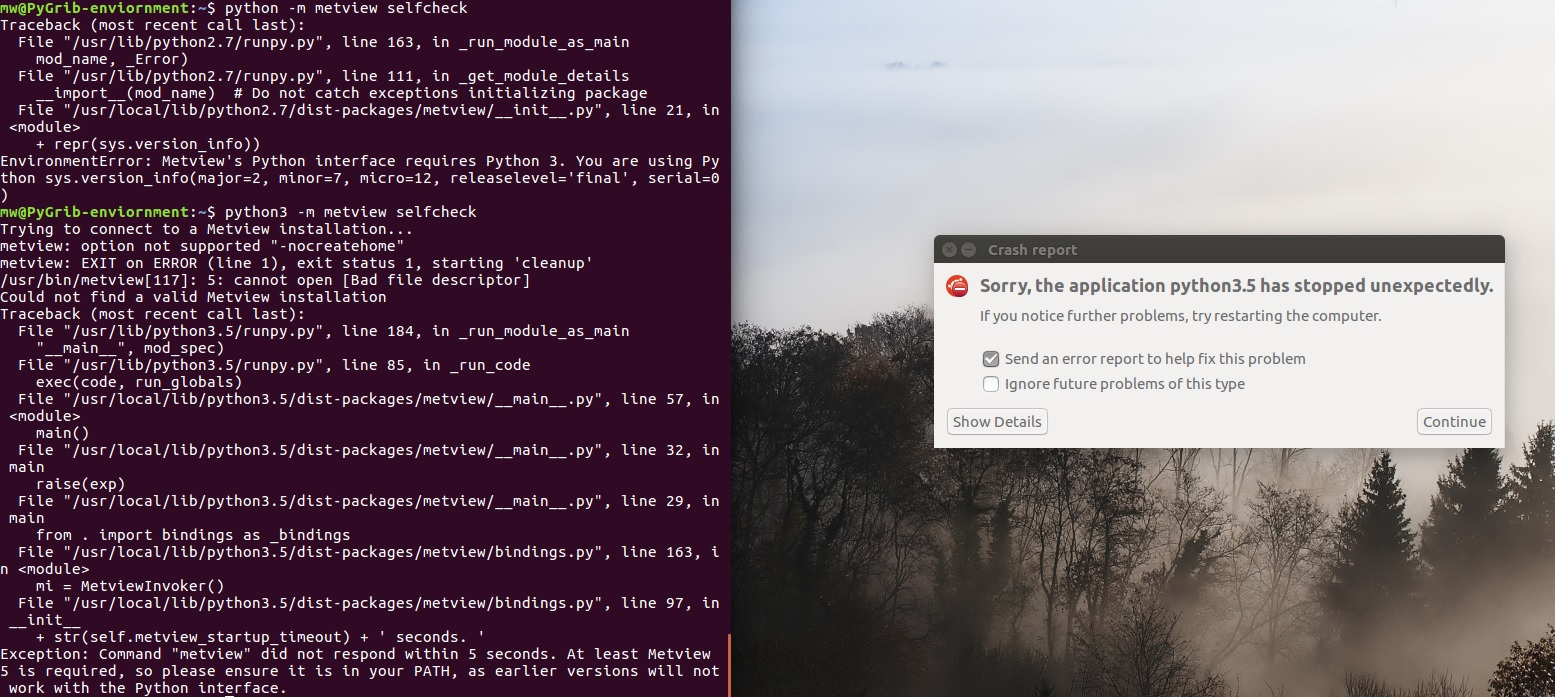 can't install metview for python, but can use metview via
