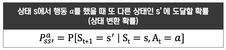 [그림 4] 상태 s에서 행동 a를 했을 때 또 다른 상태인 s'에 도달할 확률 (상태 변환 확률) 수식