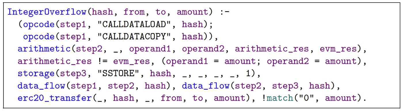 리스트 5. 정수 오버플로우 공격 탐지를 위한 Datalog Query