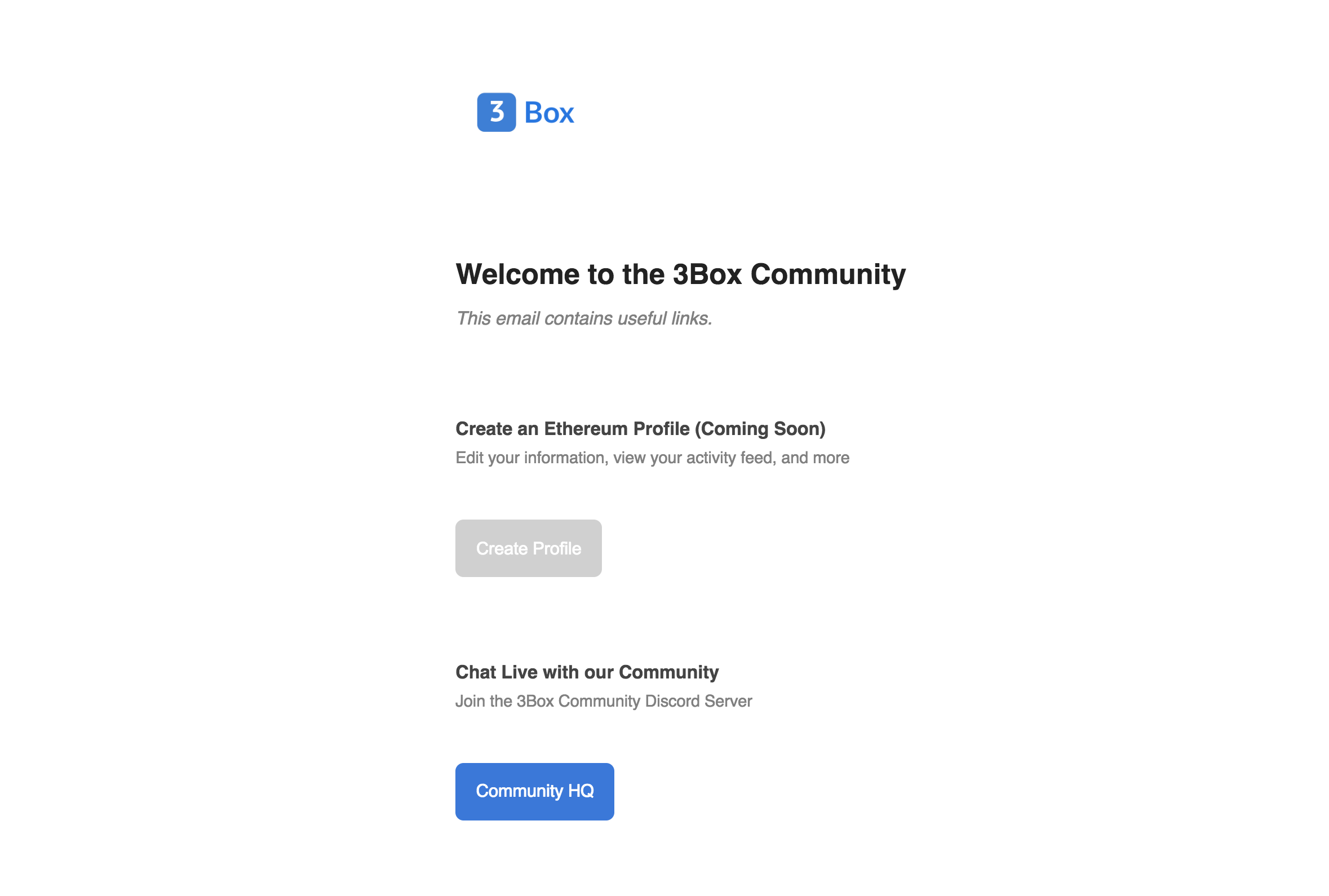 Update 3Box Community Welcome Email · Issue #427 · 3box/3box