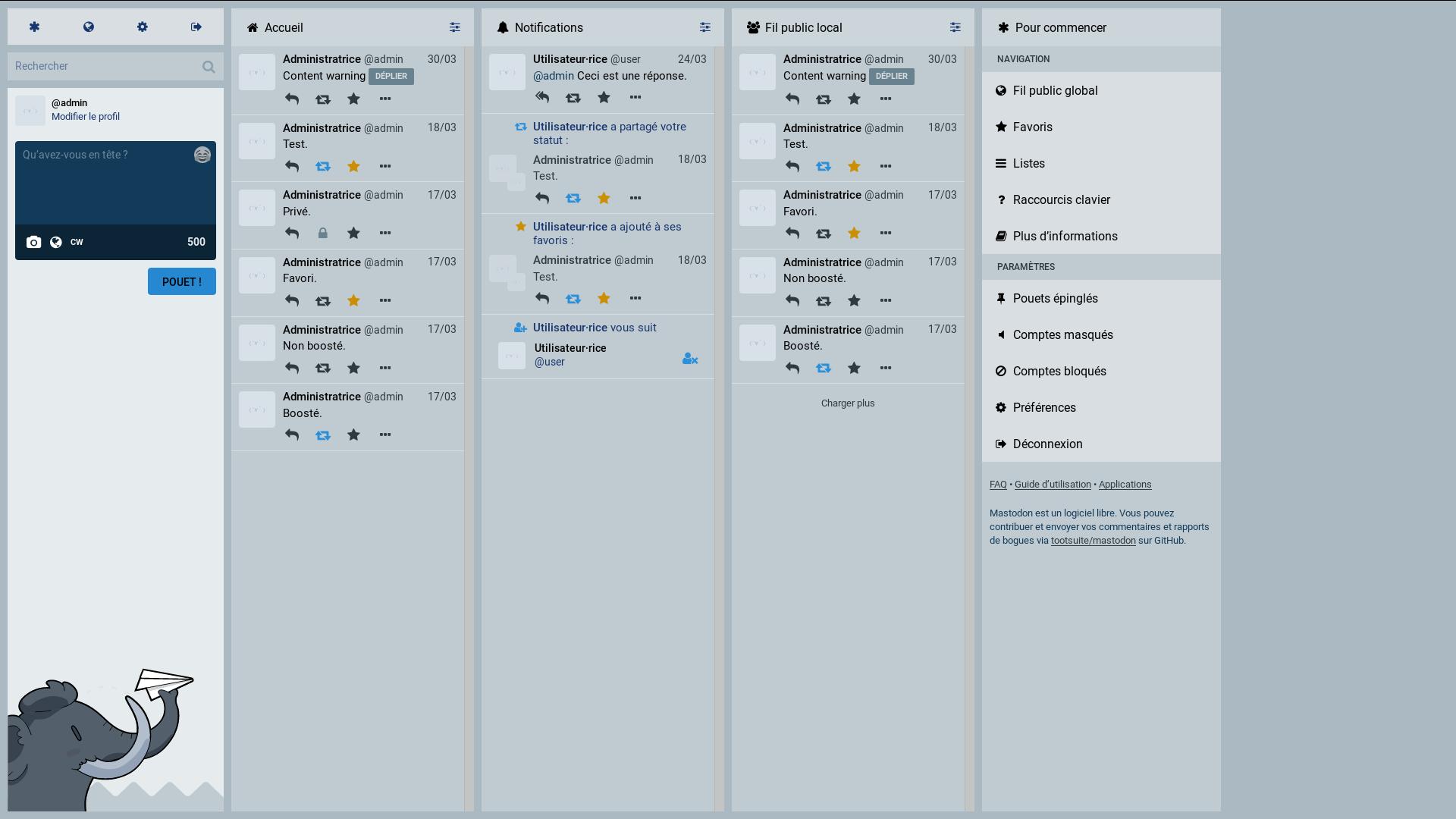 Mastodon's main interface with a clear theme