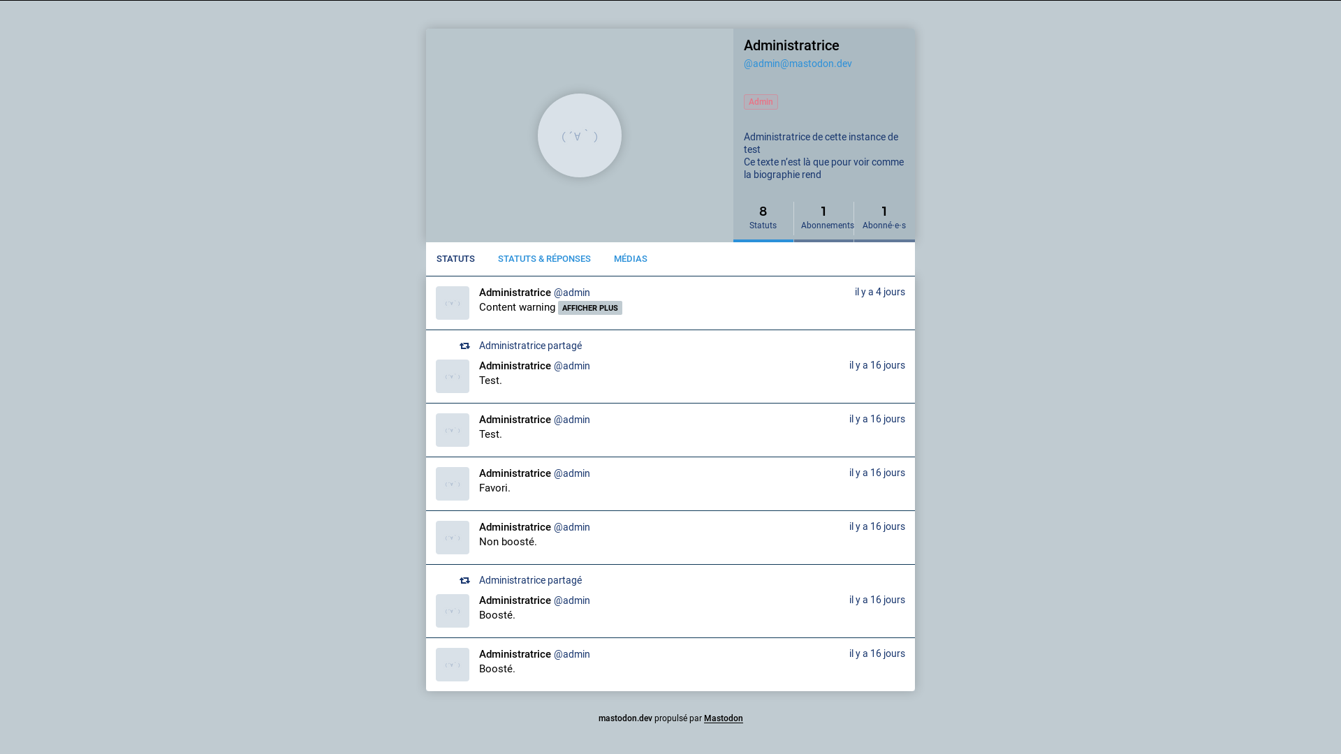 Mastodon's profile page with a clear theme