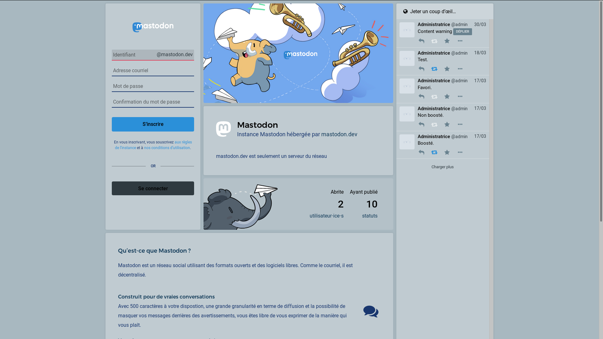 Mastodon's landing page with a clear theme