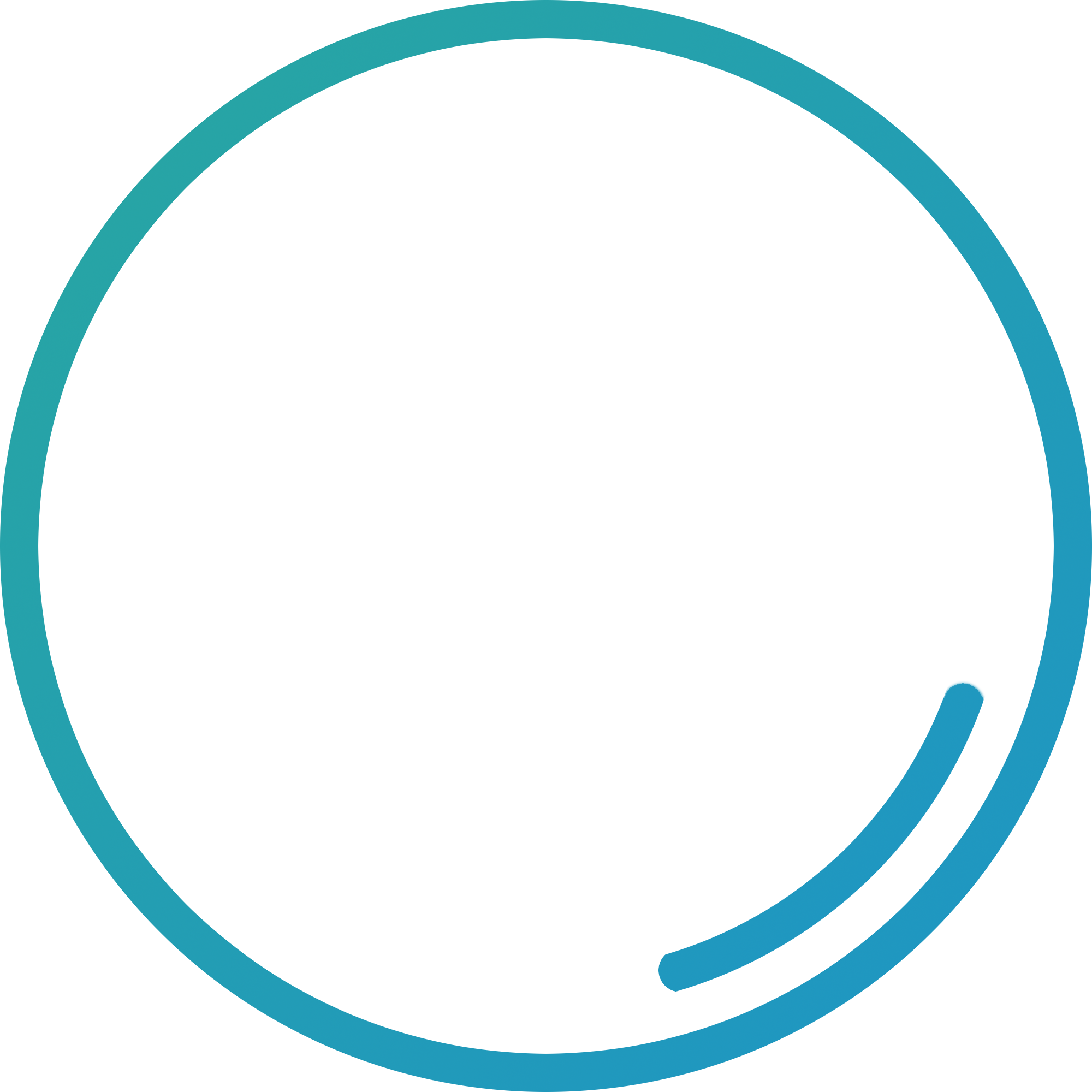 A green and blue circle with a small blue arc of circle inside it.