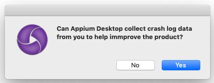 Appium Desktop for Mac Dialog Spelling Error: