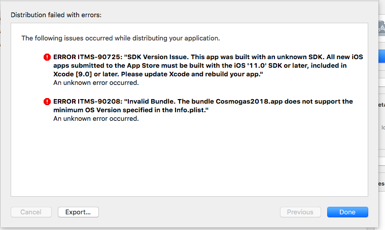 App Store: ERROR ITMS-90725 (apps must be built with iOS