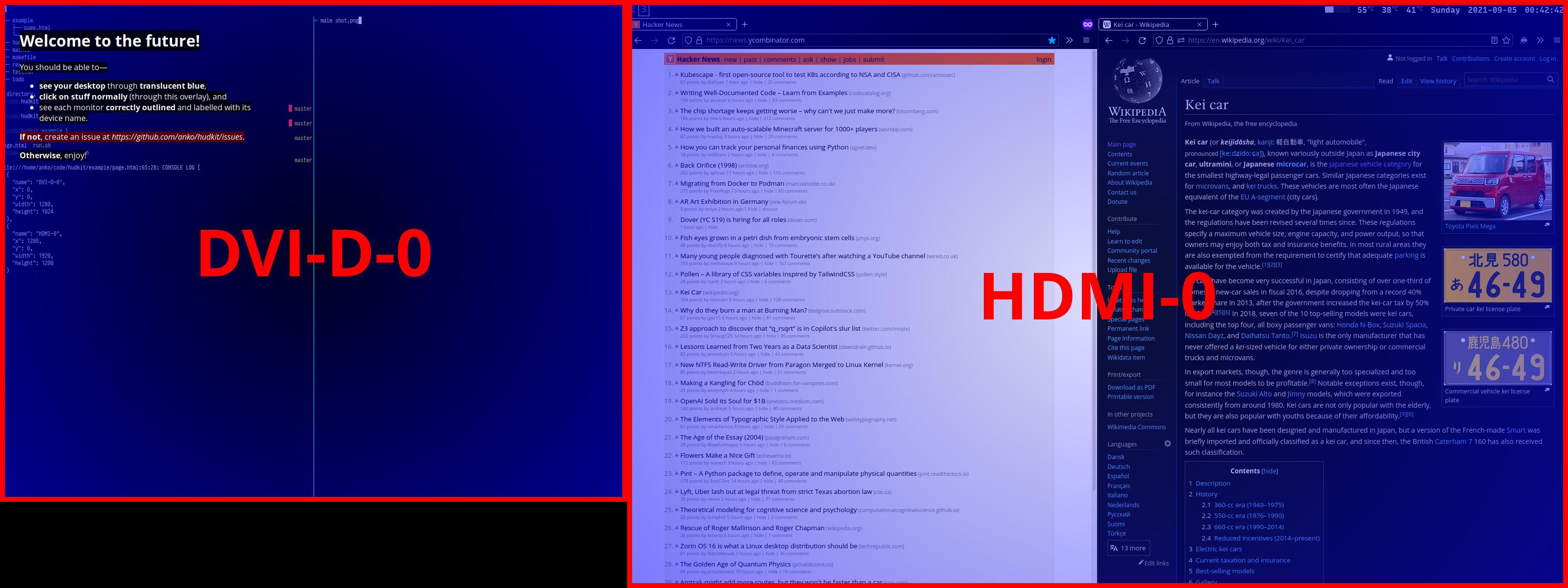 hudkit example running on 2 monitors