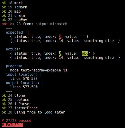 example failure output