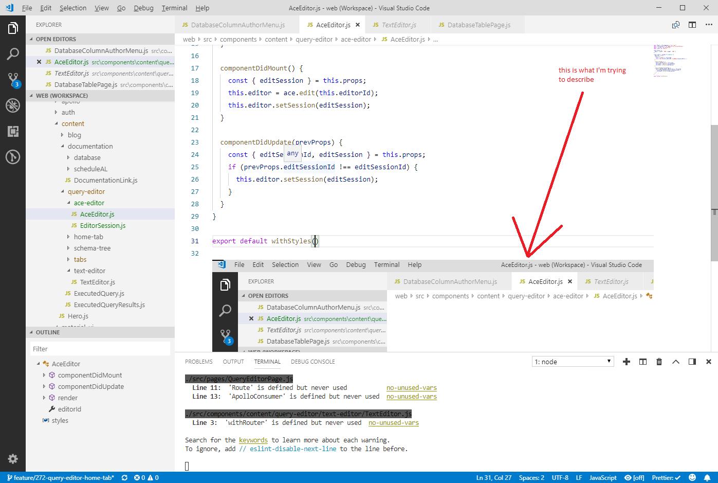 Portions of VS Code window sometimes