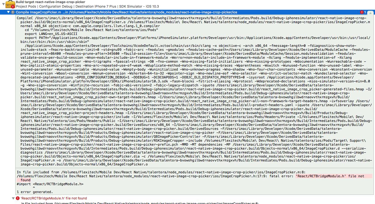 react/rctdefines.h file not found rctbridgemodule.h