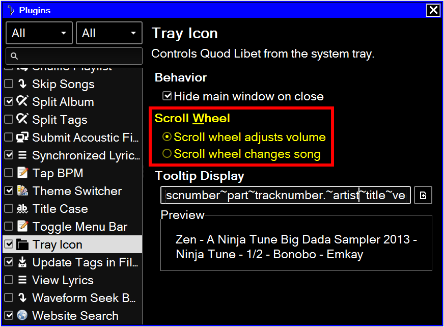 Tray Icon - Plugins