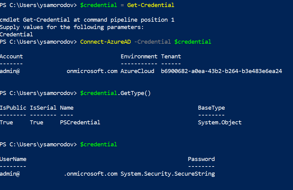 Connect-AzureAD with the -Credential Parameter Clears the